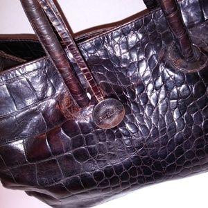 Furla Bags - Furla Vintage Crocodile Print Brown Leather Bag